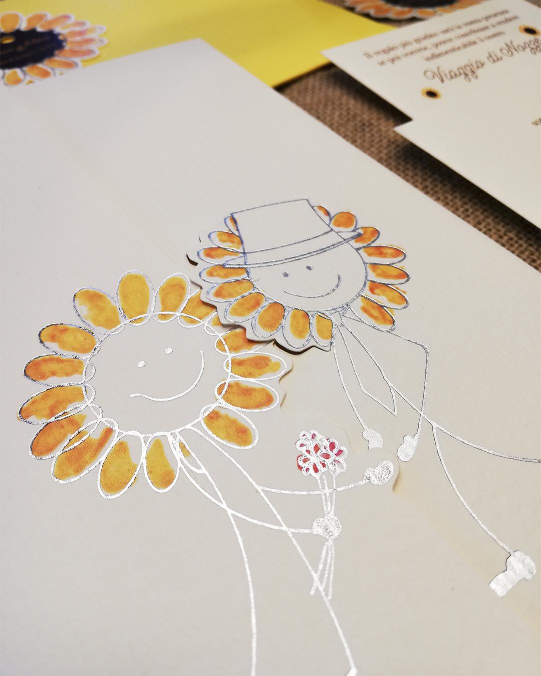 partecipazione personalizzate wedding trepuntozero tema girasoli con rifiniture in argento