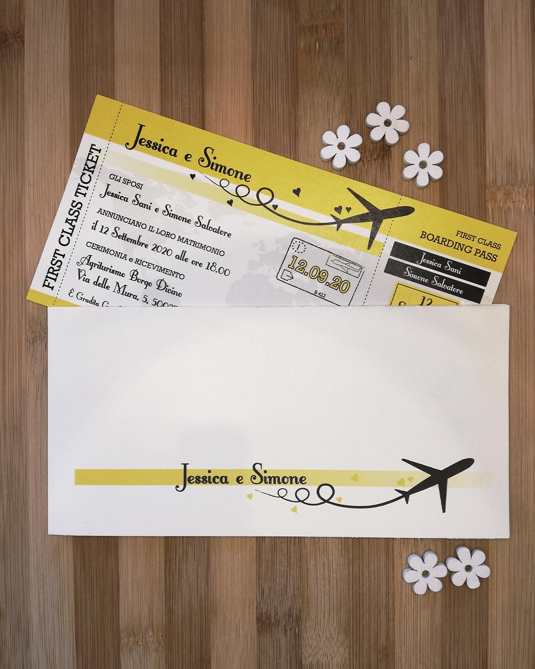 partecipazione nozze tema viaggi biglietto aereo wedding trepuntozero