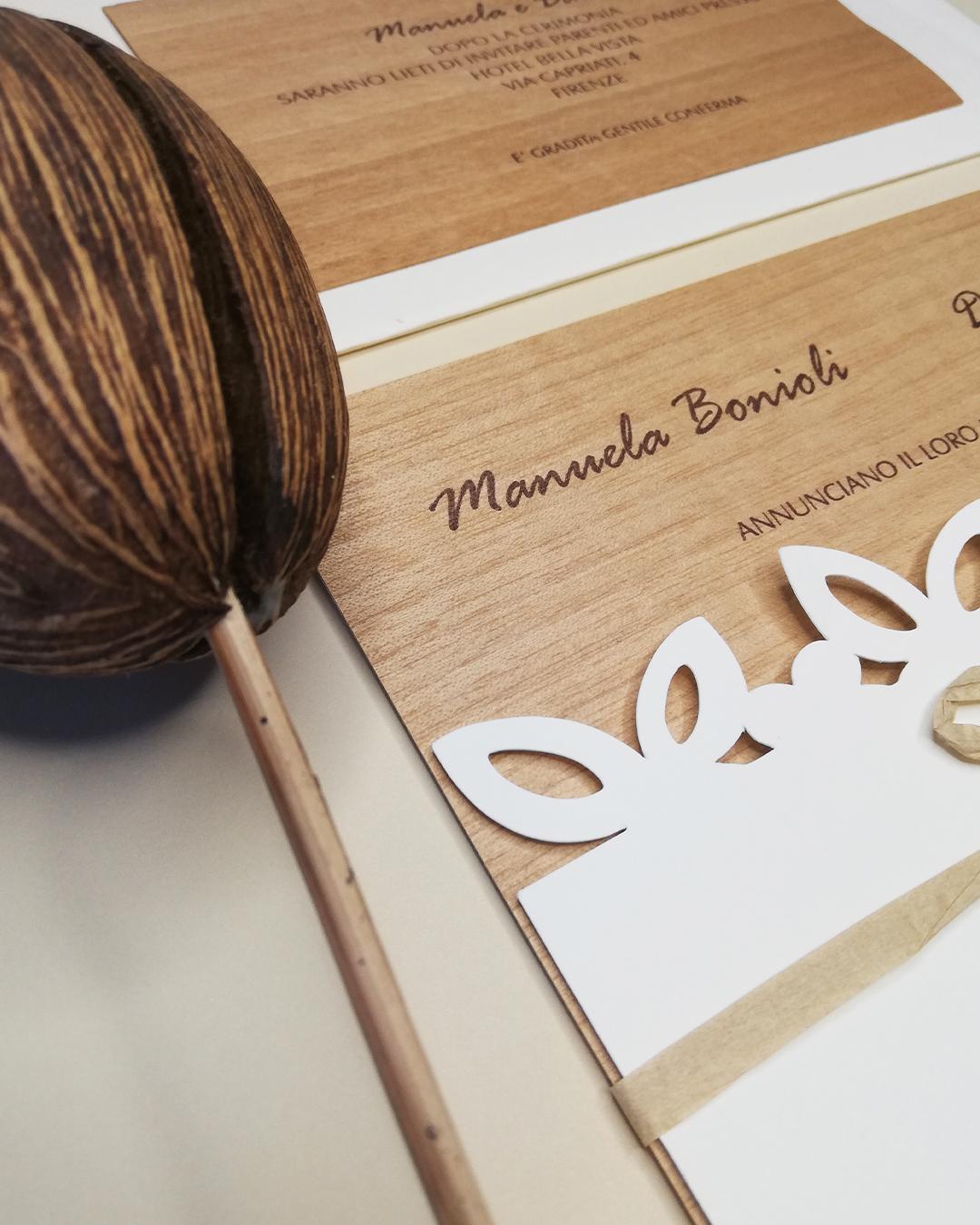 partecipazione matrimonio wedding trepuntozero in pasta di legno con busta personalizzata